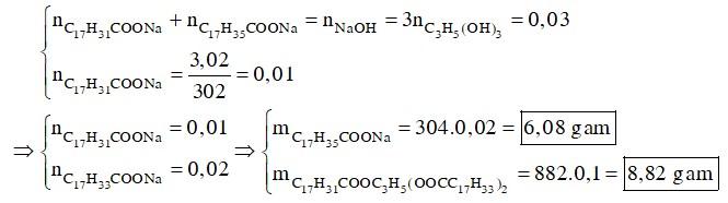 Khi thuỷ phân a gam một chất béo X thu được 0,92 gam glixerol, 3,02 gam natri linoleat (C17H31COONa)