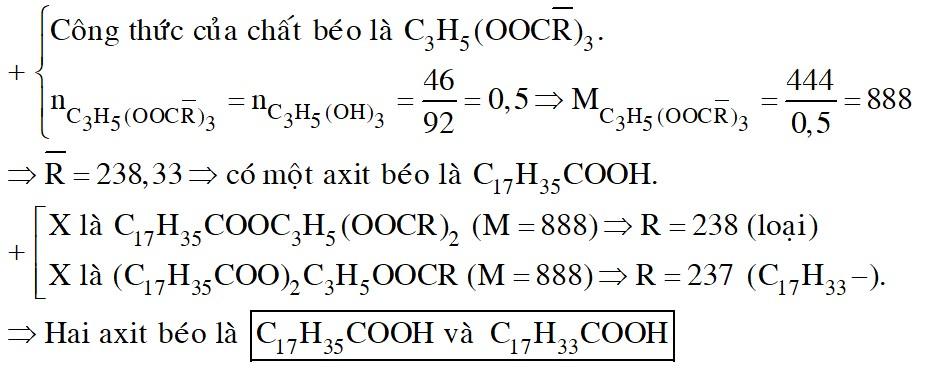 Thuỷ phân hoàn toàn 444 gam một chất béo, thu được 46 gam glixerol (glixerin) và hai loại axit béo