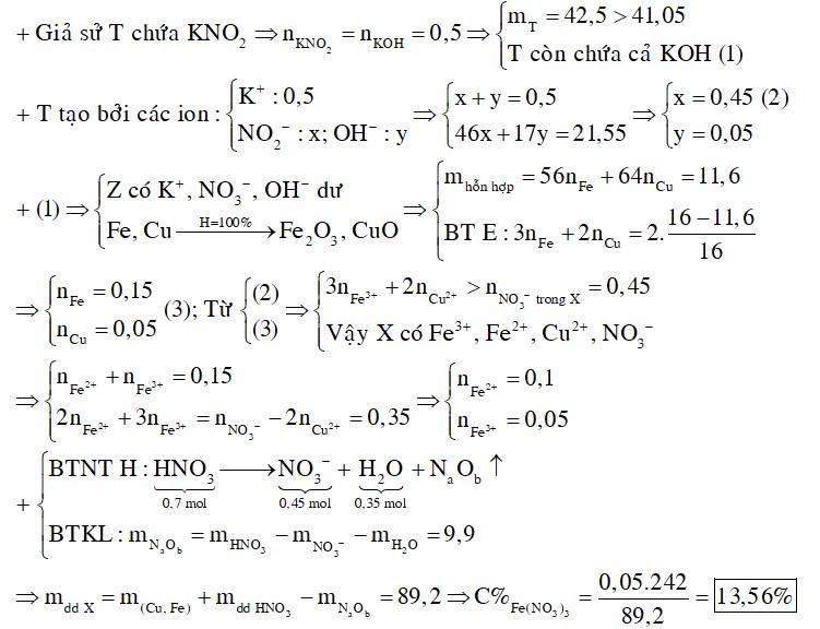 Hòa tan 11,6 gam hỗn hợp M gồm Fe và Cu vào 87,5 gam dung dịch HNO3 50,4