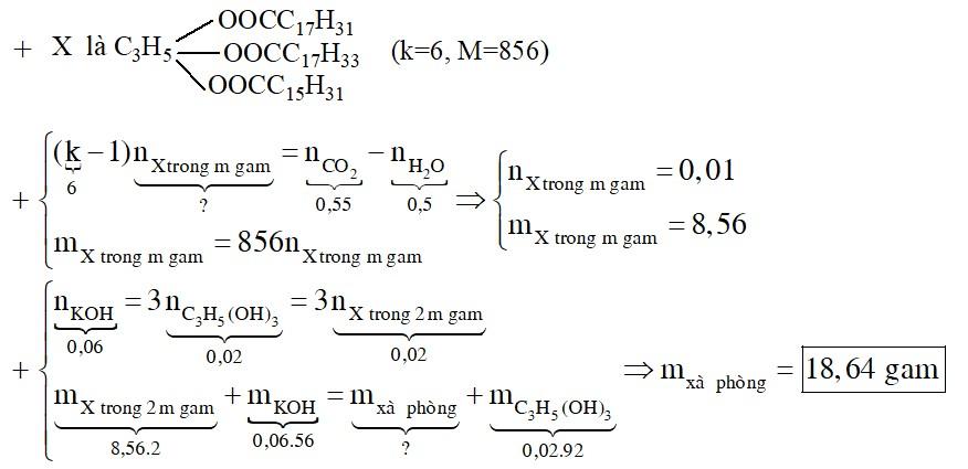 Đốt cháy hoàn toàn m gam hỗn hợp X chứa hỗn hợp các triglixerit tạo bởi từ cả 3 axit panmitic, oleic, linoleic thu được