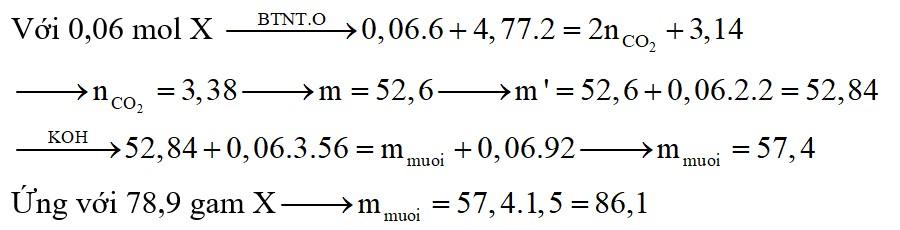 Đốt cháy hoàn toàn 0,06 mol hỗn hợp X gồm ba chất béo cần dùng 4,77 mol O2, thu được 56,52 gam nước