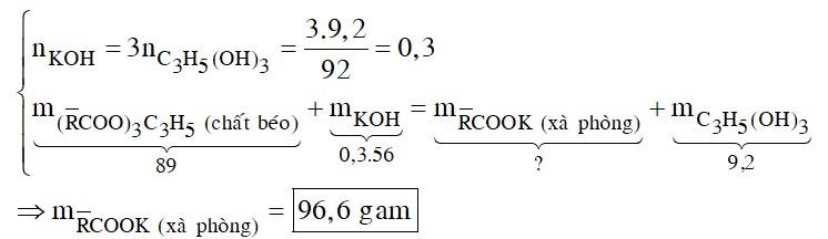 Xà phòng hóa hoàn toàn 89 gam chất béo X bằng dung dịch KOH, thu được 9,2 gam glixerol
