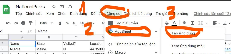 tao appsheet voi google sheets