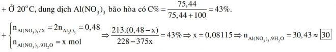Hòa tan hoàn toàn 24,48 gam Al2O3 bằng một lượng vừa đủ dung dịch HNO3, thu được 228 gam dung dịch X