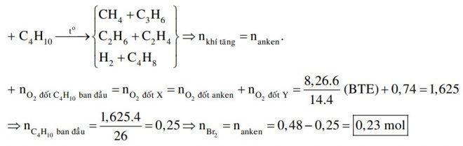 Nung nóng một lượng butan trong bình kín (với xúc tác thích hợp), thu được 0,48 mol hỗn hợp X gồm H2 và các hiđrocacbon mạch hở
