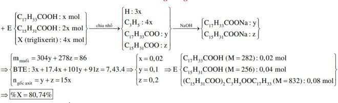 Hỗn hợp E gồm axit oleic, axit panmitic và triglixerit X (tỉ lệ mol tương ứng là 1 : 2 : 4). Đốt cháy hoàn toàn m gam E