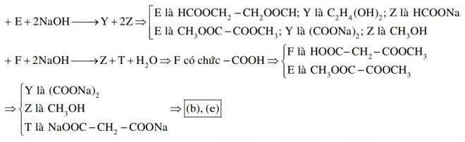 Cho các sơ đồ phản ứng xảy ra theo đúng tỉ lệ mol: E + 2NaOH → Y + 2Z F + 2NaOH → Z + T + H2O