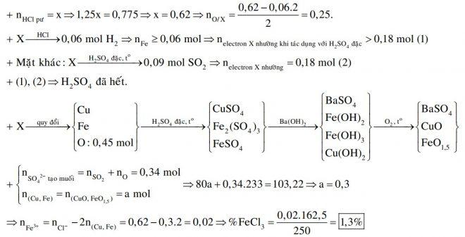 Hỗn hợp X gồm Cu, CuO, Fe, Fe2O3. Hòa tan hết m gam X trong dung dịch chứa 0,775 mol HCl (dư 25% so với lượng phản ứng)