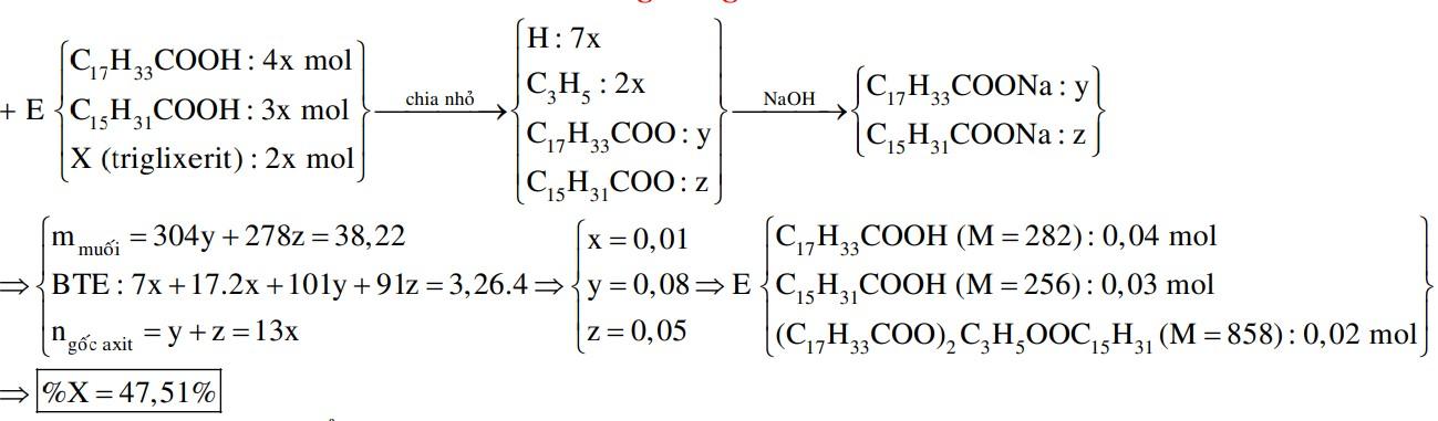 Hỗn hợp E gồm axit oleic, axit panmitic và triglixerit X (tỉ lệ mol tương ứng là 4 : 3 : 2). Đốt cháy hoàn toàn m gam E