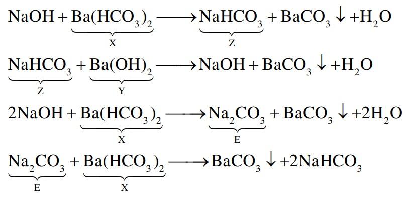 Cho sơ đồ chuyển hóa:  NaOH (+X)→ Z(+Y) → NaOH (+X)→ E (+Y)→ BaCO3