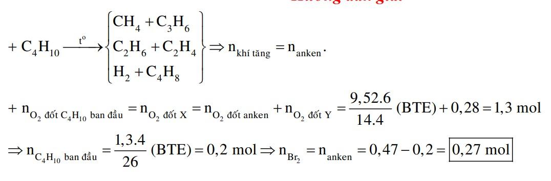 Nung nóng một lượng butan trong bình kín (với xúc tác thích hợp), thu được 0,47 mol hỗn hợp X gồm H2 và các hiđrocacbon