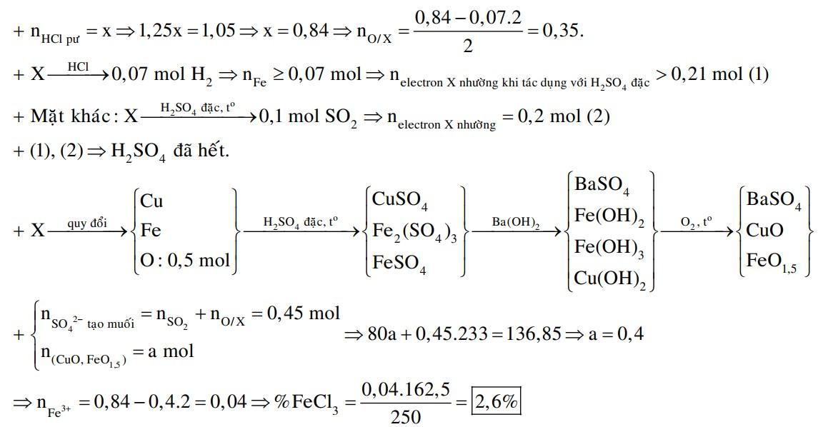 Hỗn hợp X gồm Cu, CuO, Fe, Fe2O3. Hòa tan hết m gam X trong dung dịch chứa 1,05 mol HCl