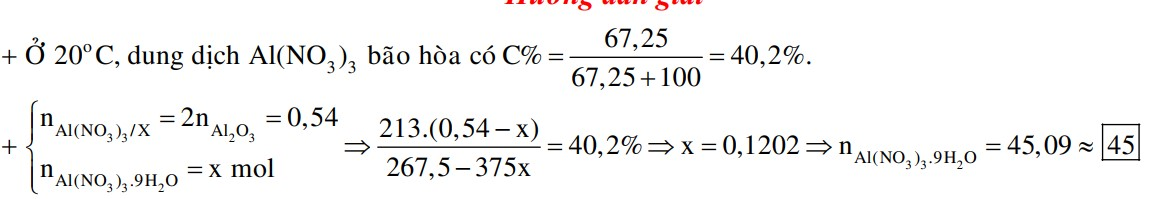 Hòa tan hoàn toàn 27,54 gam Al2O3 bằng một lượng vừa đủ dung dịch HNO3, thu được 267,5 gam dung dịch X