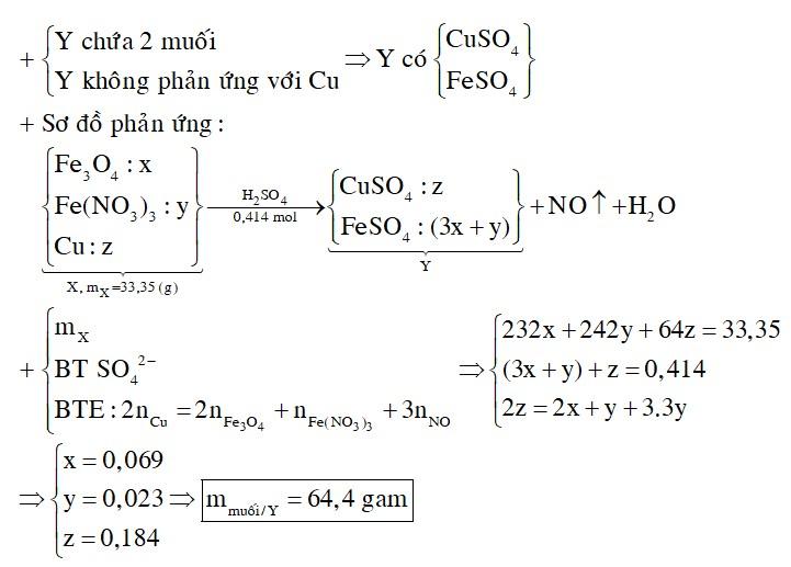 Cho 33,35 gam hỗn hợp X gồm Fe3O4, Fe(NO3)3, Cu tan hoàn toàn trong dung dịch chứa 0,414 mol H2SO4 (loãng)
