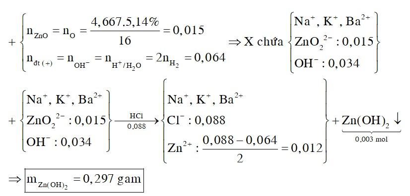 Hòa tan hết 4,667 gam hỗn hợp Na, K, Ba và ZnO (trong đó oxi chiếm 5,14% khối lượng) vào nước, thu được dung dịch X
