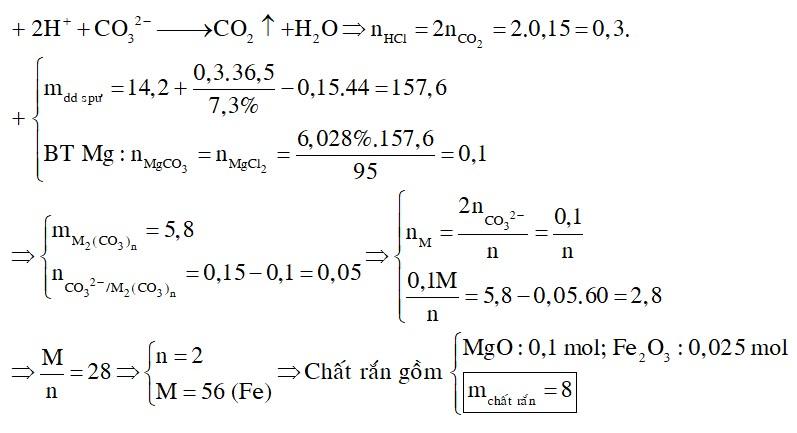 Hoà tan 14,2 gam hỗn hợp X gồm MgCO3 và một muối cacbonat của kim loại M vào một lượng vừa đủ axit HCl 7,3%