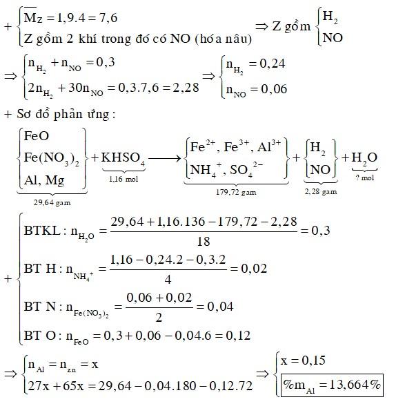 Cho 29,64 gam hỗn hợp X gồm FeO, Fe(NO3)2, Al, Zn trong đó số mol Al bằng số mol Zn tan hoàn toàn trong dung dịch hỗn hợp chứa 1,16 mol KHSO4