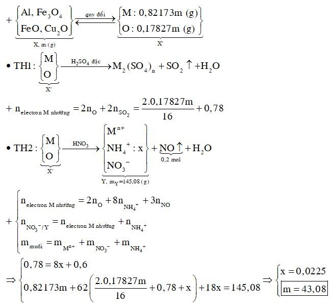 Hỗn hợp X gồm Al, Fe3O4, FeO, Cu2O trong đó oxi chiếm 17,827% khối lượng hỗn hợp