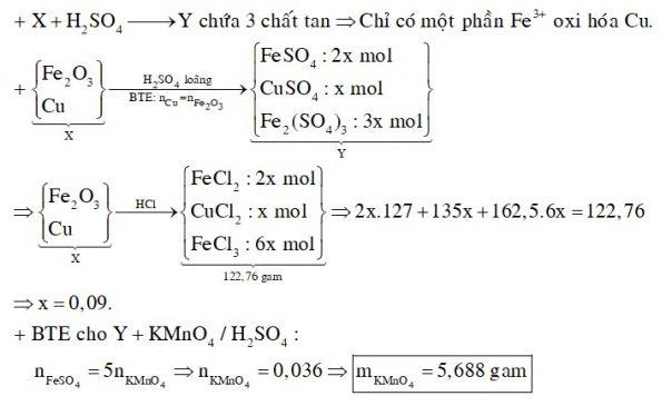 Hỗn hợp X gồm Fe2O3 và Cu. Cho m gam hỗn hơp X tác dụng với dung dịch HCl vừa đủ, thu được dung dịch chứa 122,76 gam chất tan