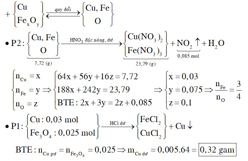 Hỗn hợp X có khối lượng 15,44 gam gồm bột Cu và oxit sắt FexOy được chia thành hai phần bằng nhau