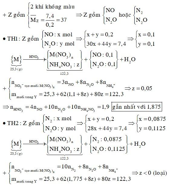 Hòa tan hoàn toàn 25,3 gam hỗn hợp X gồm Mg, Al, Zn bằng dung dịch HNO3. Sau khi phản ứng kết thúc thu được