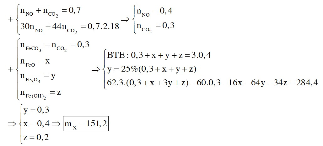 Hòa tan hoàn toàn m gam hỗn hợp X gồm FeO, Fe3O4, Fe(OH)2, FeCO3 (trong đó Fe3O4 chiếm 25% số mol hỗn hợp) bằng dung dịch HNO3 dư