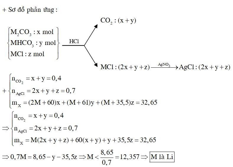 Hỗn hợp X gồm M2CO3, MHCO3 và MCl (M là kim loại kiềm). Cho 32,65 gam X tác dụng vừa đủ