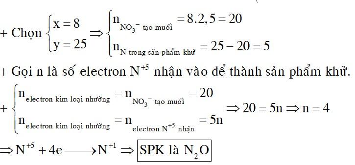 Cho x mol hỗn hợp kim loại X và Y tan hết trong dung dịch chứa y mol HNO3, sau khi kết thúc phản ứng thu được khí Z