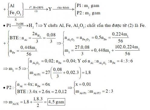 Thực hiện phản ứng nhiệt nhôm hỗn hợp X gồm (Al và Fe2O3) trong điều kiện không có không khí đến phản ứng hoàn toàn thu được hỗn hợp Y
