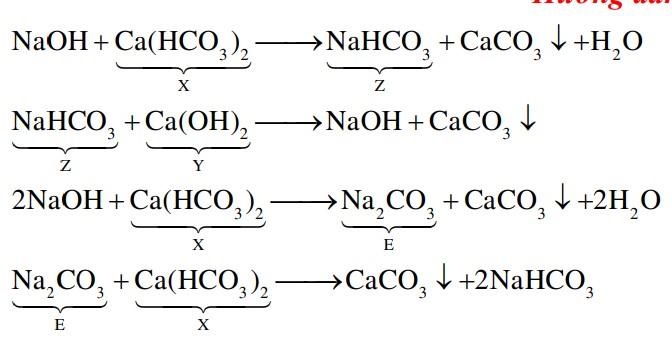 Cho sơ đồ chuyển hóa:  NaOH → Z → NaOH → E → CaCO3