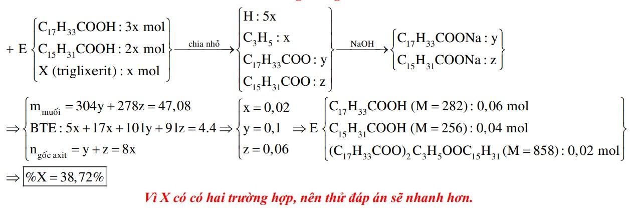 Hỗn hợp E gồm axit oleic, axit panmitic và triglixerit X (tỉ lệ mol tương ứng là 3: 2: 1). Đốt cháy hoàn toàn m gam E