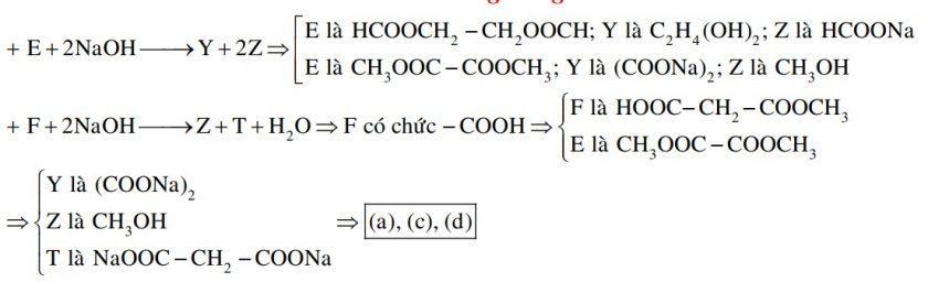 Cho các sơ đồ phản ứng xảy ra theo đúng tỉ lệ mol: E + 2NaOH → Y + 2Z