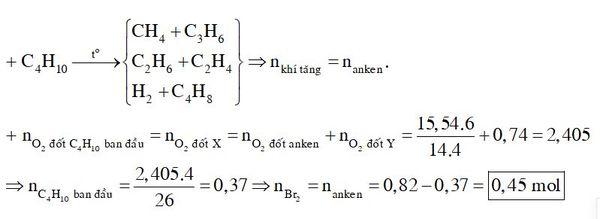 Nung nóng một lượng butan trong bình kín (với xúc tác thích hợp), thu được 0,82 mol hỗn hợp X gồm H2 và các hiđrocacbon mạch hở