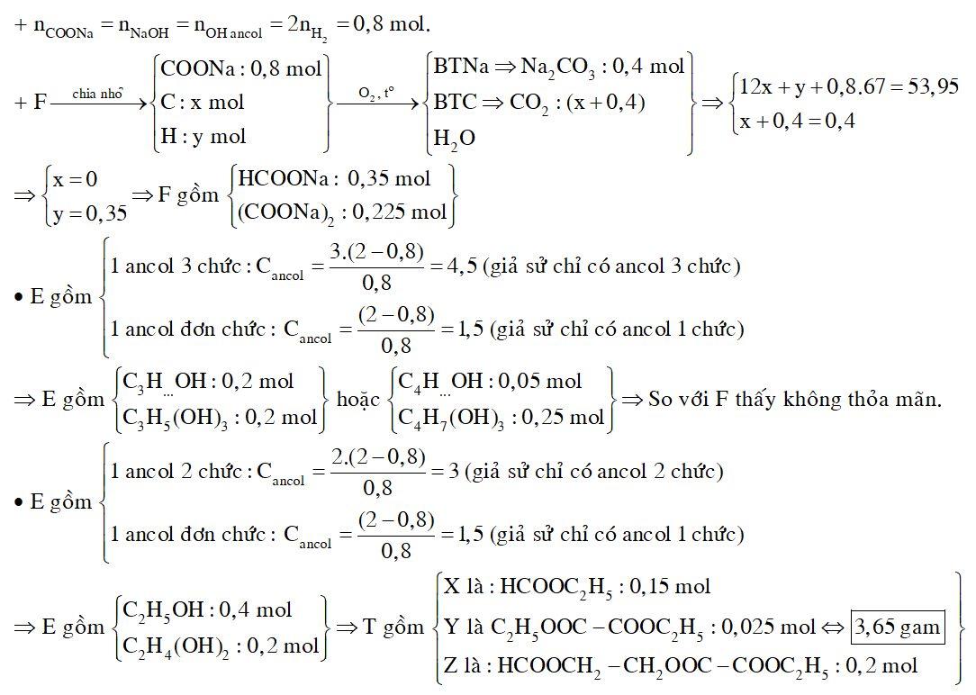 Hỗn hợp T gồm ba este mạch hở X (đơn chức), Y (hai chức), Z (ba chức), đều được tạo thành từ axit cacboxylic và ancol