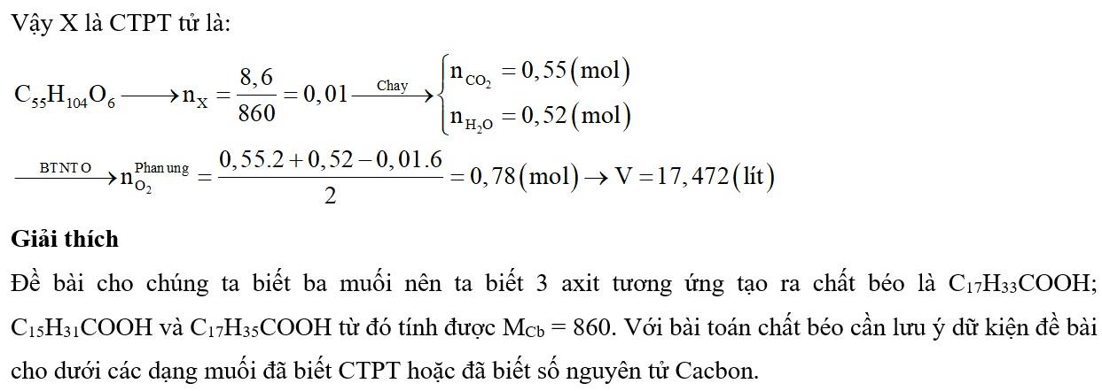 Khi thủy phân một triglixerit X, thu được các axit béo gồm axit oleic, axit panmitic, axit stearic