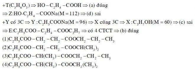 Thủy phân hoàn toàn chất hữu cơ E (C9H16O4, chứa hai chức este) bằng dung dich NaOH, thu được sản phẩm gồm ancol X và hai chất hữu cơ Y, Z