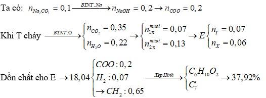 Hỗn hợp E gồm este X (CnH2nO2) và este Y (CmH2m-2O4) đều mạch hở, trong phân tử chỉ chứa một loại nhóm chức