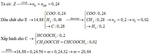 Hỗn hợp E gồm este X (CnH2nO2) và este Y (CmH2m-4O4) đều mạch hở, trong phân tử chỉ chứa một loại nhóm chức