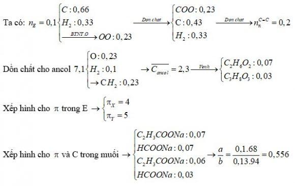 Đốt cháy hoàn toàn 0,1 mol hỗn hợp E gồm hai este (X,Y) đều mạch hở cần dùng 0,595 mol O2 thu được 29,04 gam CO2 và 5,94 gam H2O