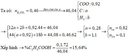 Hỗn hợp A gồm ba axit hữu cơ X, Y, Z đều đơn chức mạch hở, trong đó X là axit khong no, có một liên kết đôi C=C; Y và Z là hai axit no