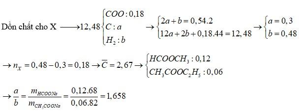 Đốt cháy hoàn toàn 12,48 gam hỗn hợp X gồm hai este cần dùng 0,54 mol O2, thu được CO2 và H2O
