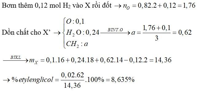 Hỗn hợp X gồm nhiều ancol đơn chức, mạch hở và glixerol (0,04 mol), etylenglicol (0,02 mol). Đốt cháy hoàn toàn m gam X cần vừa đủ