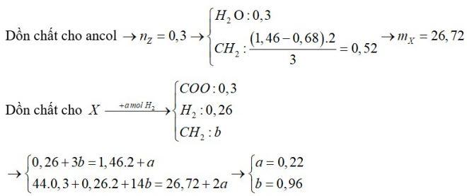 Cho hỗn hợp X gồm 6 este, đều mạch hở (không có nhóm chức khác). Đem đốt cháy 0,26 mol X thì cần vừa đủ 1,46 mol O2