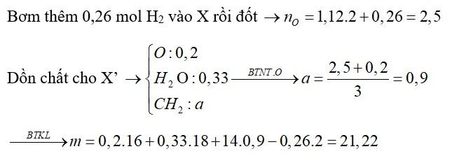 Hỗn hợp X gồm nhiều ancol đơn chức, mạch hở và glixerol (0,1 mol). Đốt cháy hoàn toàn m gam mcần vừa đủ 1,12 mol O2