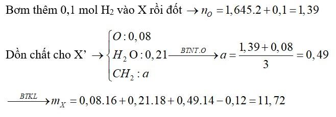 Hỗn hợp X gồm nhiều ancol đơn chức, mạch hở và glixerol (0,02 mol), etylenglicol (0,04 mol). Đốt cháy hoàn toàn m gam X cần vừa đủ