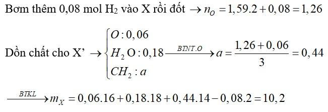 Hỗn hợp X gồm nhiều ancol đơn chức, mạch hở và glixerol (0,02 mol), etylenglicol (0,02 mol). Đốt cháy hoàn toàn m gam X cần vừa đủ
