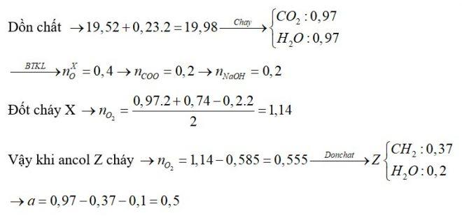 Đốt cháy hoàn toàn 19,52 gam hỗn hợp X chứa bốn este đều đơn chức, mạch hở bằng lượng oxi vừa đủ