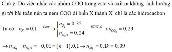 Đốt cháy toàn bộ 0,1 mol hỗn hợp X gồm metyl propionat, metyl axetat, axit acrylic và 2 hidrocacbon mạch hở cần vừa đủ 0,35 mol O2