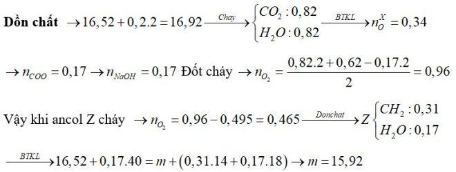 Đốt cháy hoàn toàn 16,52 gam hỗn hợp X chứa ba este đều đơn chức, mạch hở bằng lượng oxi vừa đủ, thu được 36,08 gam CO2