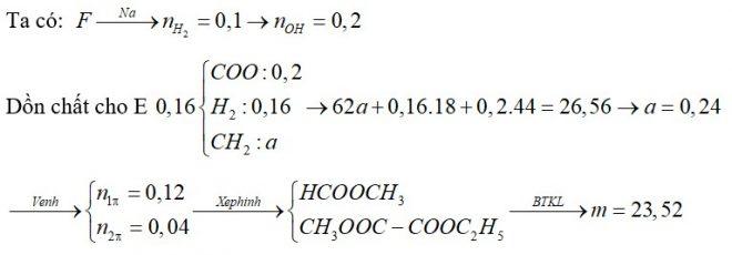 Đốt cháy 0,16 mol hỗn hợp E chứa 2 este đều no, mạch hở và không phân nhánh, thu được CO2 và H2O có tổng khối lượng 26,56 gam